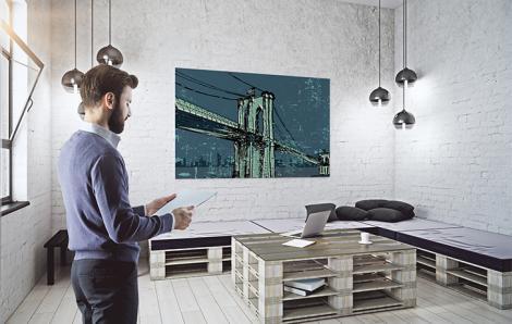 Plakat most brookliński nocą