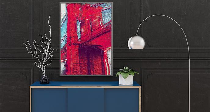 Plakat Most Brookliński w czerwieni