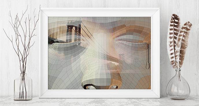 Plakat most i abstrakcja