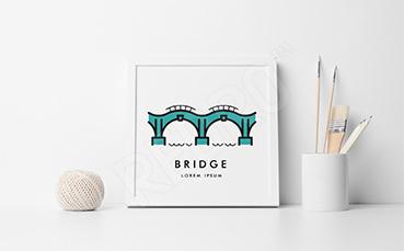 Plakat most w minimalistycznym stylu