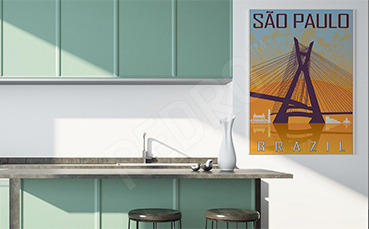 Plakat most w Sao Paulo vintage