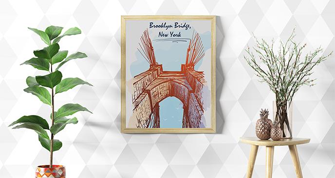 Plakat most z perspektywy żabiej