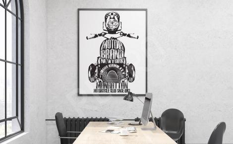 Plakat motocykl w czerni i bieli