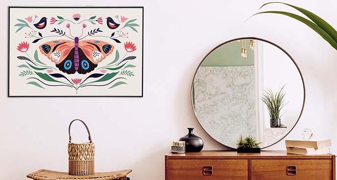 Plakat motyl w stylu folkowym