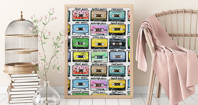 Plakat muzyka: retro kasety