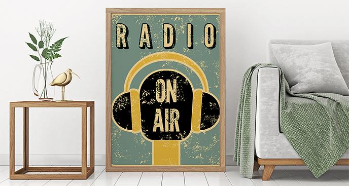 Plakat muzyka: retro słuchawki