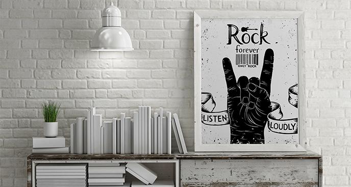 Plakat muzyka z rockowym gestem
