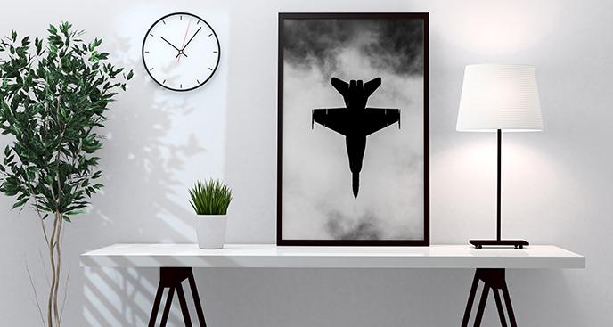 Plakat myśliwiec w chmurach