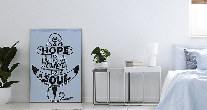 Plakat napis w kotwicy