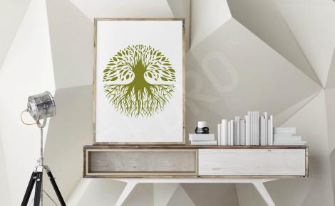 Plakat natura zielone drzewo