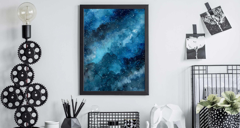 Plakat niebieska galaktyka