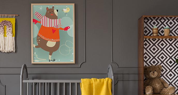 Plakat niedźwiadek na lodowisku