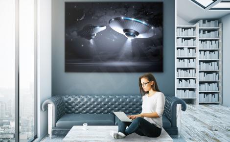 Plakat obiekty kosmiczne fantasy