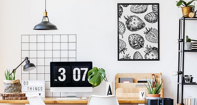 Plakat owoce czarno-białe