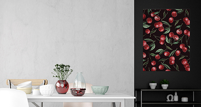 Plakat owoce wiśni