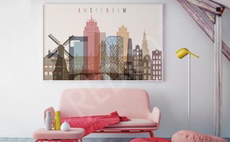 Plakat panorama Amsterdamu