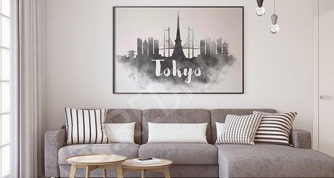 Plakat panorama w czerni i bieli