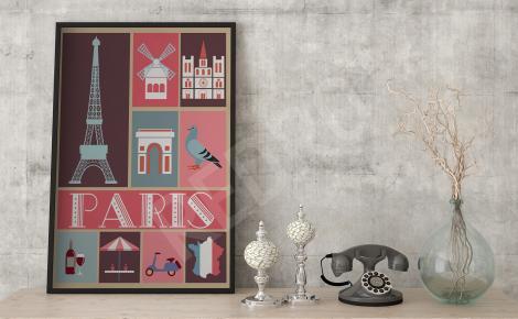 Plakat paryskie symbole