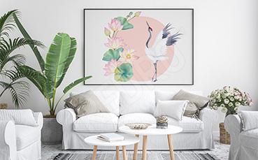 Plakat pastelowy z żurawiem