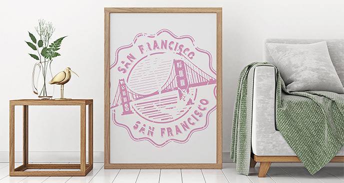 Plakat pieczątka z mostem