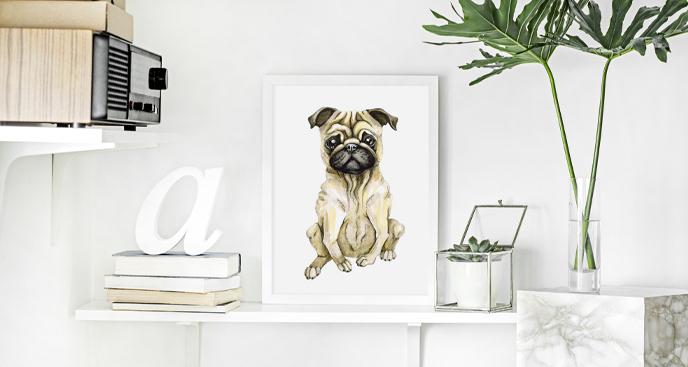 Plakat pies rasy mops