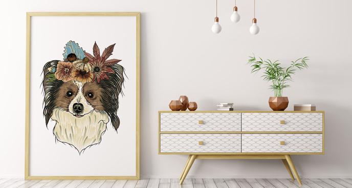 Plakat pies z kwiatami