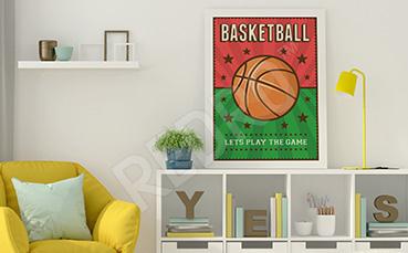 Plakat piłka do koszykówki