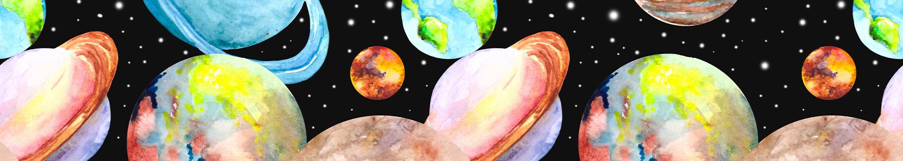Plakat planety na niebie