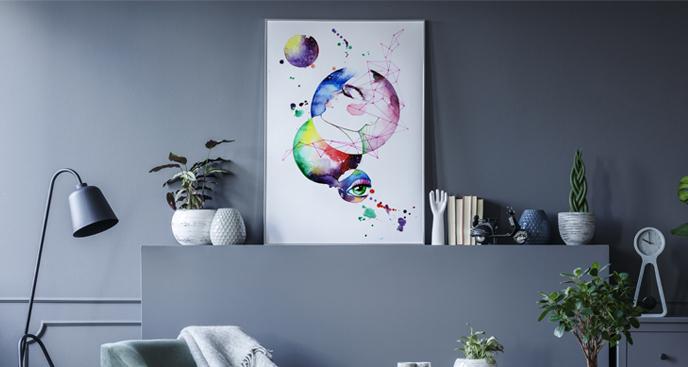 Plakat planety w akwareli