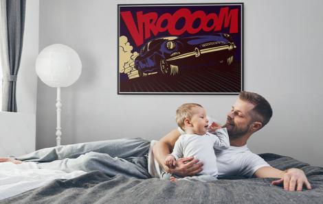 Plakat pop-art z samochodem