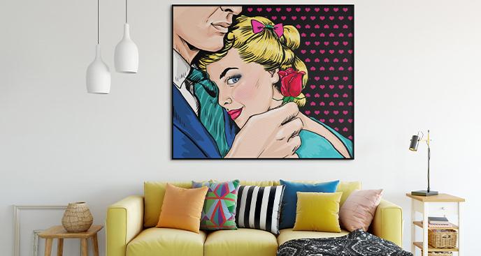 Plakat pop-art z zakochaną parą
