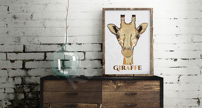 Plakat portret żyrafy