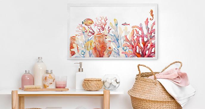 Plakat rafa koralowa do łazienki