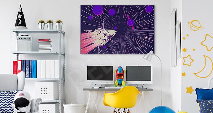 Plakat rakieta w kosmosie