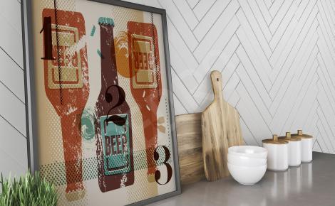 Plakat retro butelki