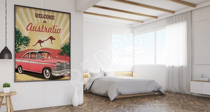 Plakat retro: kangur i samochód
