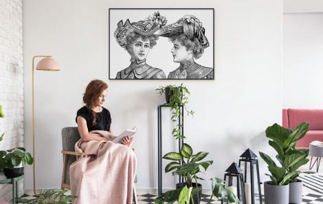 Plakat retro – kobiety w kapeluszach
