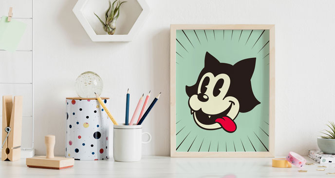Plakat retro – kot z kreskówki