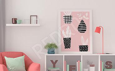 Plakat rośliny w stylu scandi
