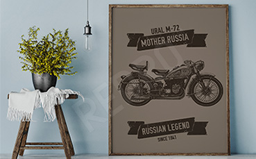 Plakat rosyjski motocykl