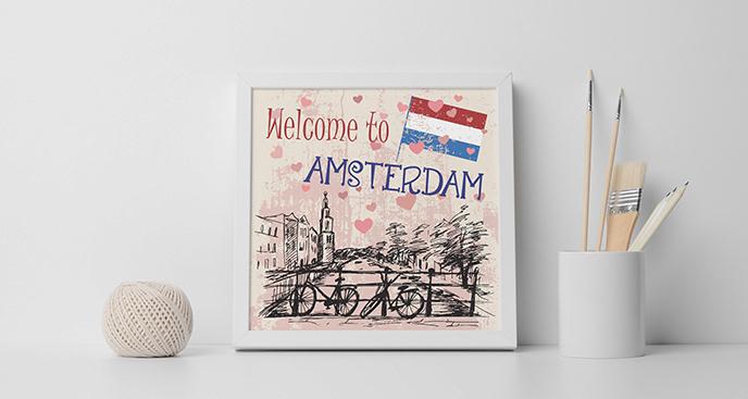 Plakat rowery w Amsterdamie