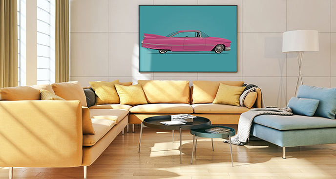 Plakat różowe auto