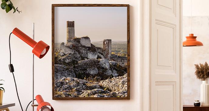 Plakat ruiny o zachodzie słońca