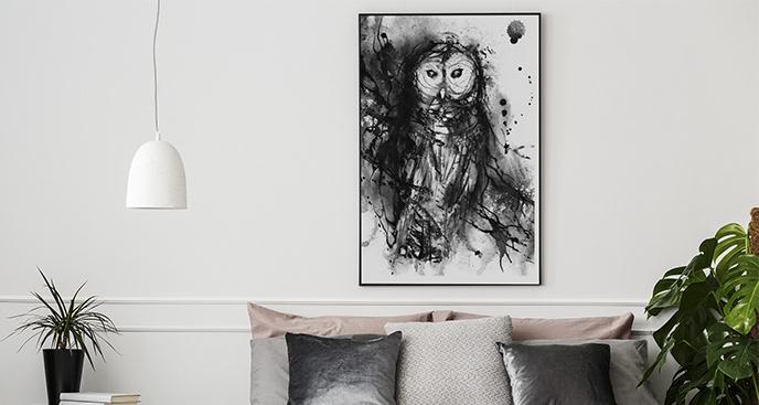 Plakat rysunek sowy