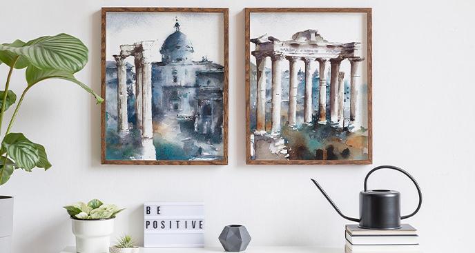 Plakat Rzym w akwareli