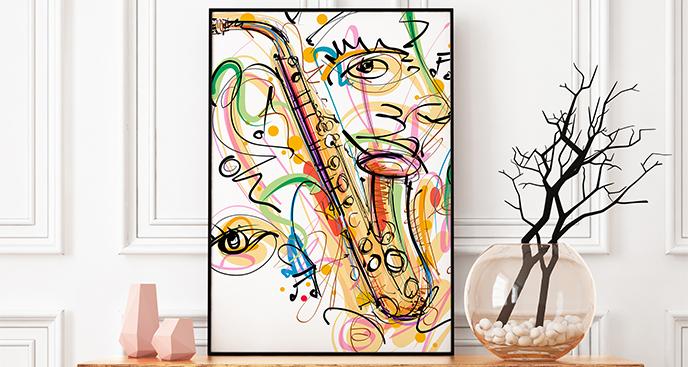 Plakat saksofon i abstrakcja