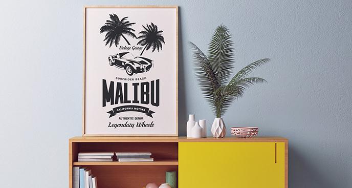 Plakat samochód pod palmami