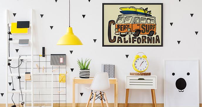 Plakat samochód surfera
