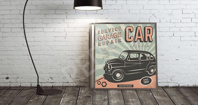 Plakat samochód vintage