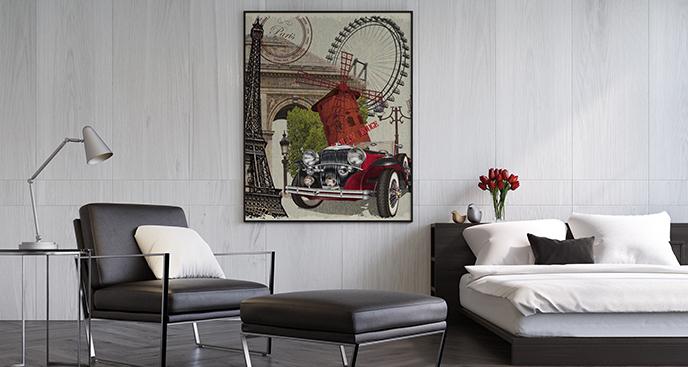 Plakat samochód w Paryżu
